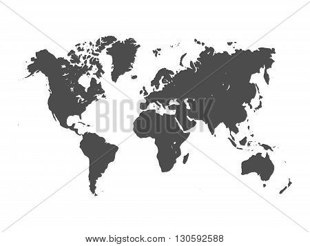 Vector map of World. Grey silhouette on white background. Simplified World map
