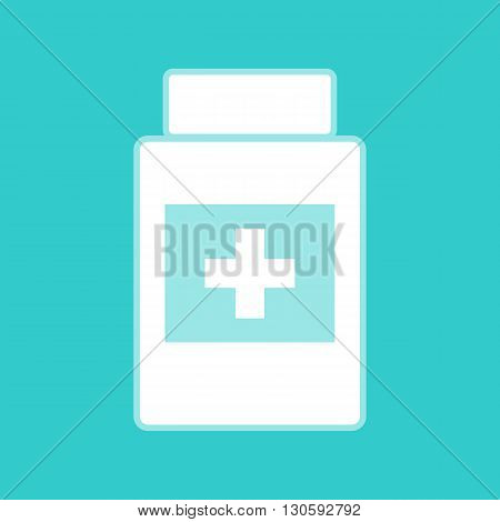 Medical container sign. White icon with whitish background on torquoise flat color.