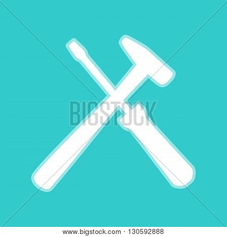 Tools sign. White icon with whitish background on torquoise flat color.