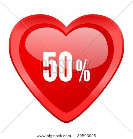 50 percent red heart valentine glossy web icon