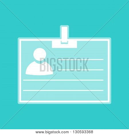 Id card sign. White icon with whitish background on torquoise flat color.