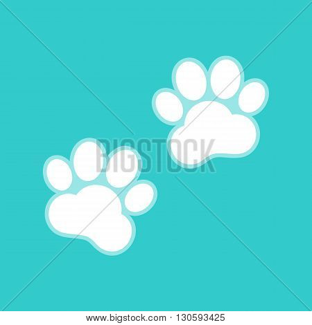 Animal Tracks sign. White icon with whitish background on torquoise flat color.