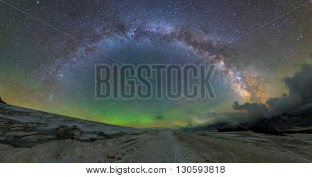 Milky Way arc from Mount Elbrus at 4000 m