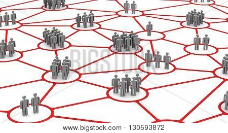 The connection of communities of people. Social connections. Business people network connections concept. Isolated. 3D Illustration