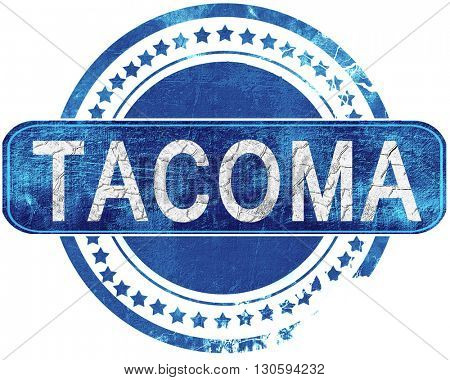 tacoma grunge blue stamp. Isolated on white.