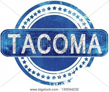 tacoma grunge blue stamp. Isolated on white.
