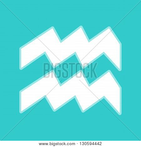 Aquarius sign. White icon with whitish background on torquoise flat color.