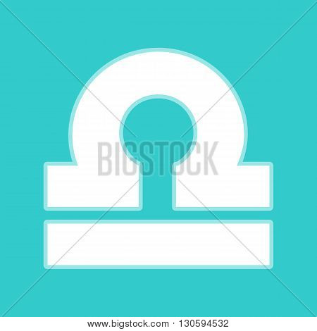 Libra sign. White icon with whitish background on torquoise flat color.