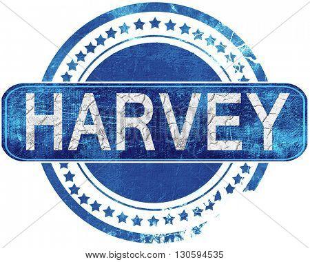 harvey grunge blue stamp. Isolated on white.