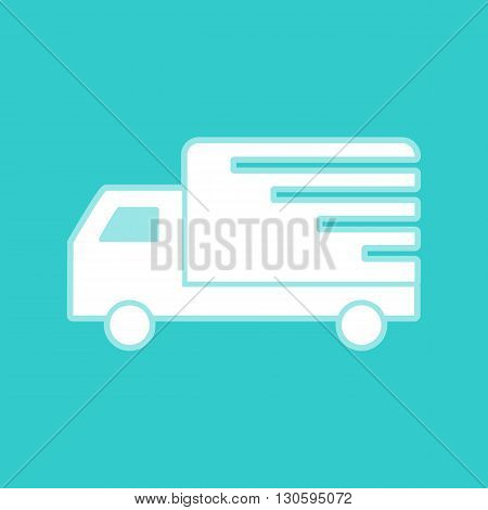 Delivery sign. White icon with whitish background on torquoise flat color.