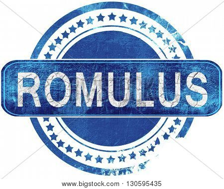 romulus grunge blue stamp. Isolated on white.