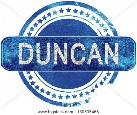 duncan grunge blue stamp. Isolated on white.
