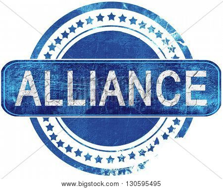 alliance grunge blue stamp. Isolated on white.