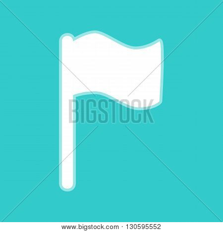 Flag sign. White icon with whitish background on torquoise flat color.