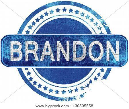 brandon grunge blue stamp. Isolated on white.