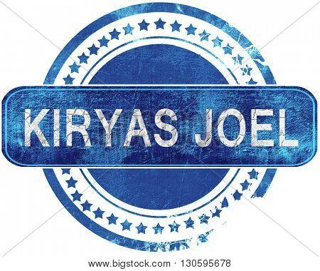 kiryas joel grunge blue stamp. Isolated on white.