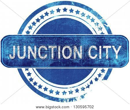 junction city grunge blue stamp. Isolated on white.