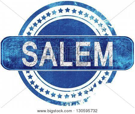 salem grunge blue stamp. Isolated on white.