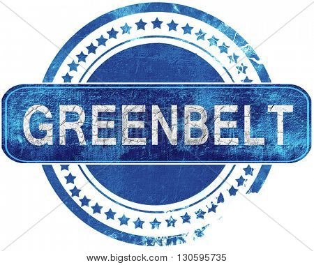 greenbelt grunge blue stamp. Isolated on white.