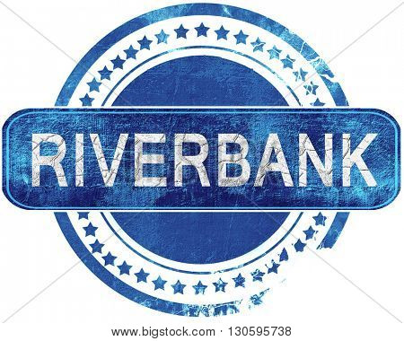 riverbank grunge blue stamp. Isolated on white.
