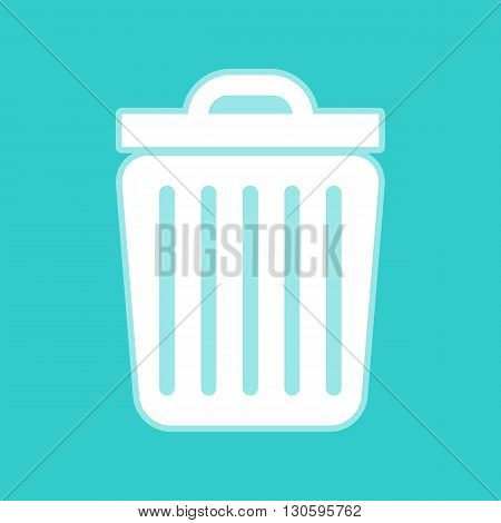 Trash sign. White icon with whitish background on torquoise flat color.