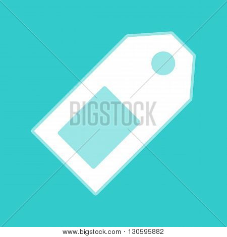 Price tag sign. White icon with whitish background on torquoise flat color.