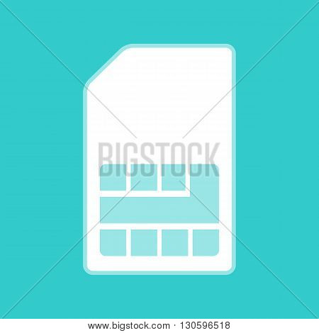 Sim card sign. White icon with whitish background on torquoise flat color.