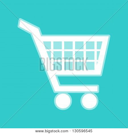 Shopping cart sign. White icon with whitish background on torquoise flat color.