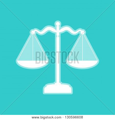 Scales balance sign. White icon with whitish background on torquoise flat color.