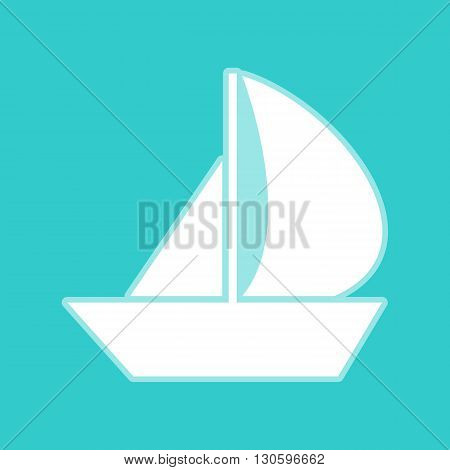 Sail Boat sign. White icon with whitish background on torquoise flat color.