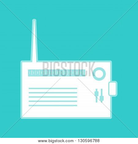Radio sign. White icon with whitish background on torquoise flat color.