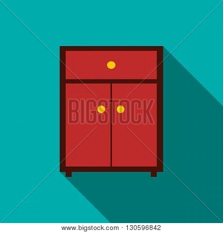 Drawer icon in flat style with long shadow. Home and interior symbol