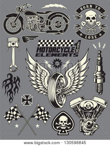 Motorcycle Variou Art Object Vector Elements Set