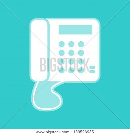 Communication or phone sign. White icon with whitish background on torquoise flat color.