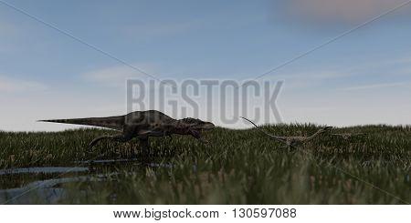 3d illustration of tarbosaurus chasing coelophysis
