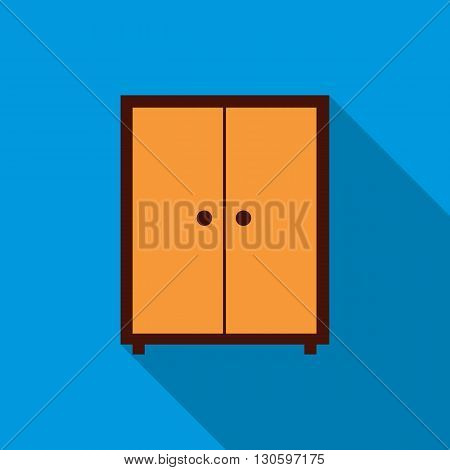 Wardrobe icon in flat style with long shadow. Home and interior symbol