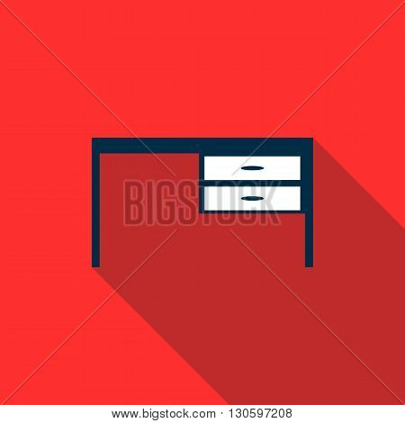 Table icon in flat style with long shadow. Home and interior symbol