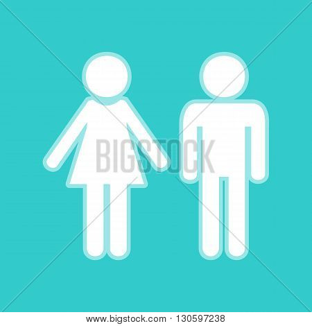 Male and female sign. White icon with whitish background on torquoise flat color.