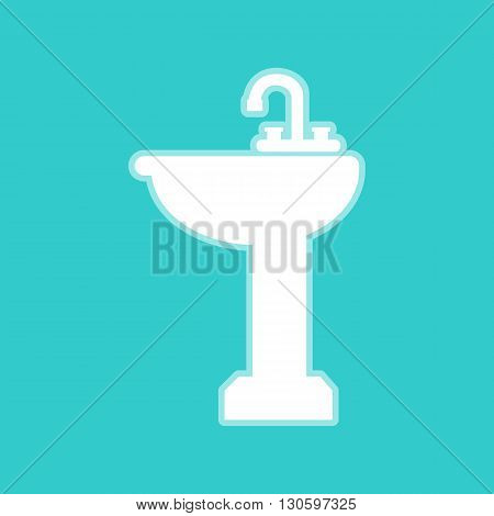 Bathroom sink sign. White icon with whitish background on torquoise flat color.