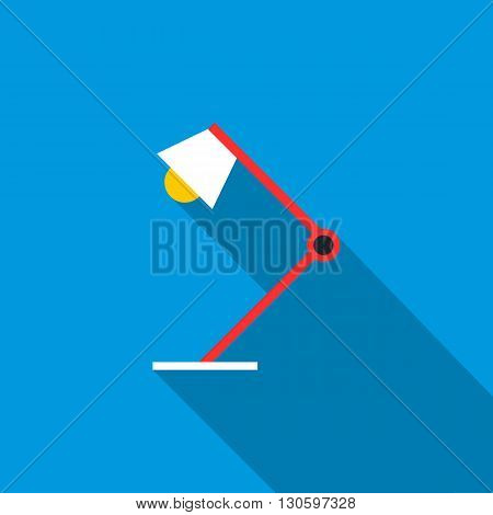 Table lamp icon in flat style with long shadow. Lighting and equipment symbol