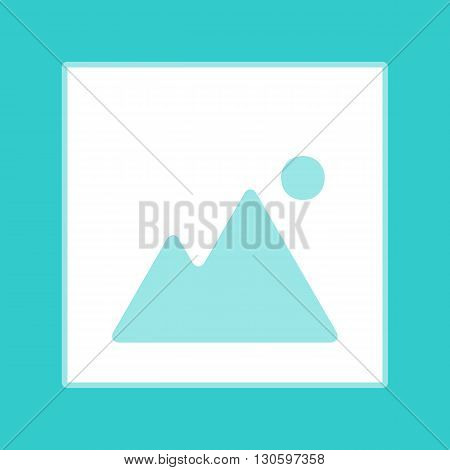 Image sign. White icon with whitish background on torquoise flat color.