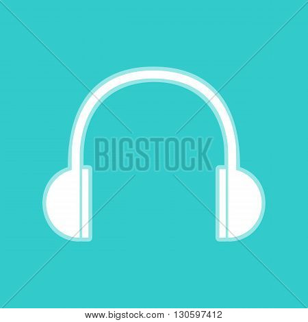 Headphones sign. White icon with whitish background on torquoise flat color.