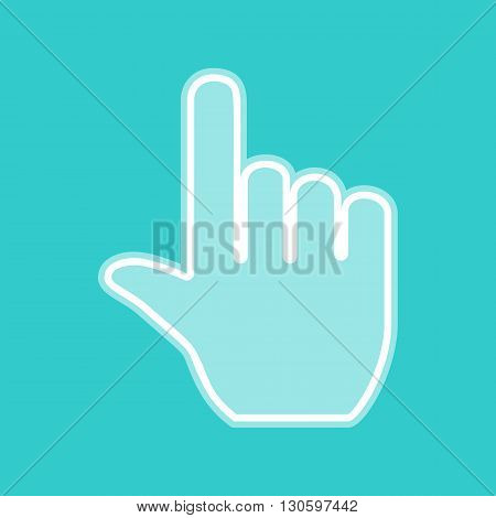 Hand sign. White icon with whitish background on torquoise flat color.