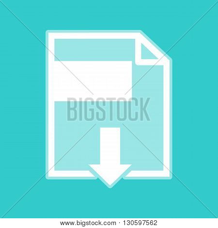 File download sign. White icon with whitish background on torquoise flat color.