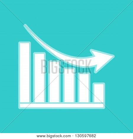 Declining graph sign. White icon with whitish background on torquoise flat color.