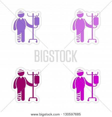 Set of stickers man bandaged on white background