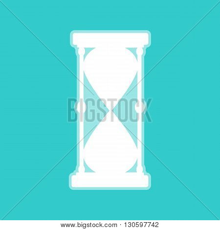 Hourglass sign. White icon with whitish background on torquoise flat color.