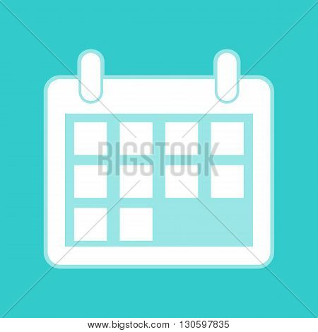 Calendar sign. White icon with whitish background on torquoise flat color.