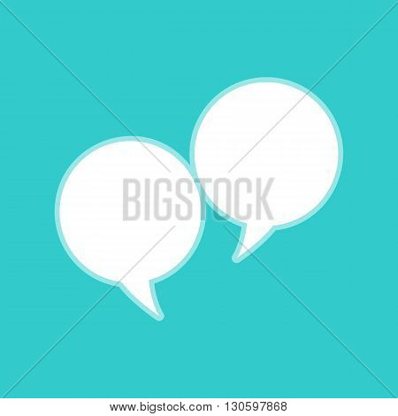 Speech bubble icon. White icon with whitish background on torquoise flat color.