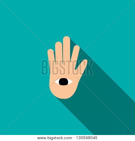 Hand with the eye icon in flat style on a turquoise background